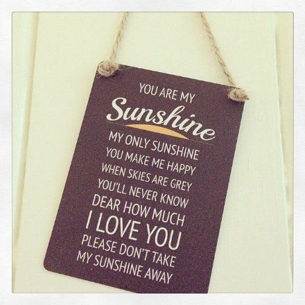 Mini Hanging Metal Sign- You Are My Sunshine